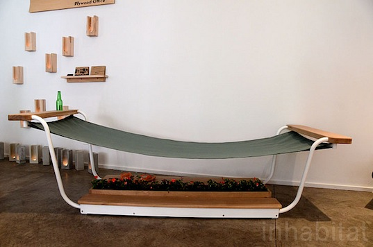 outdoor furniture, icff, model citizens, plywood office, hammock, bench,