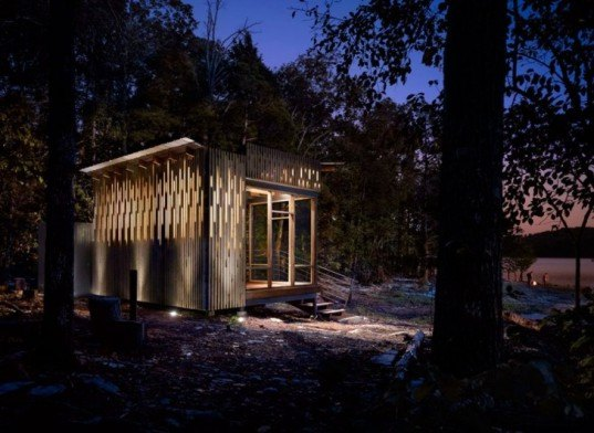 Sander Pace Architecture, eco retreat, solar powered retreat, eco cabin, off grid retreat,rainwater catchement, green cabin, retreat cabin, ceader modern facade, Tennessee green building,
