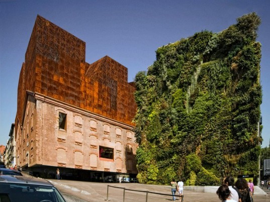 Herzog & de Meuron, CaixaForum, Madrid, green renovation, patrick blanc, living wall, art museum