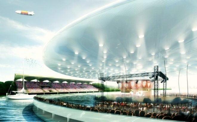 inflatable: floating solar-powered stage could revitalize