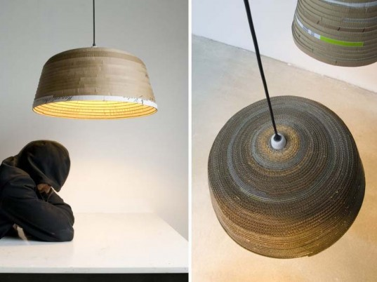repurposed card, discarded card, cardboard lamps, recycled lamps, michael wolke designs, grand sculptural lamps, pendant lamps, contemporist