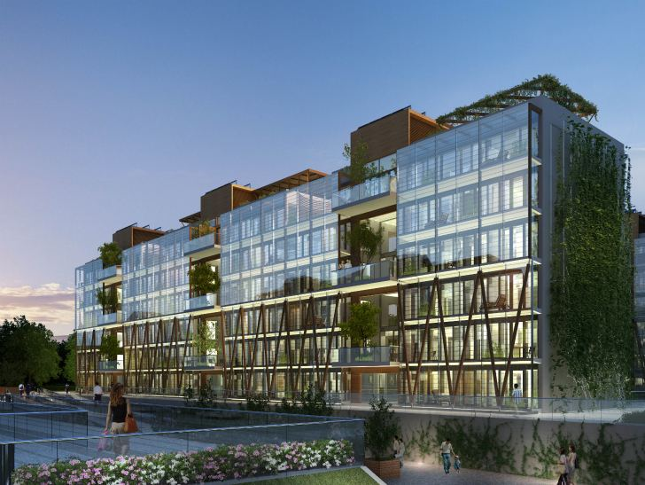 Nanjing eco housing to feature cascading living walls and for Architecture high tech
