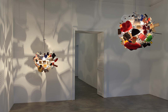 Nice Lamps nice ball: quirky lamp made from 80 doll sized iconic vitra chairs