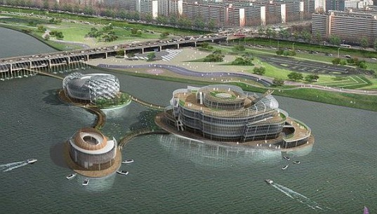 green design, eco design, sustainable design, Han River, Seoul, South Korea, Floating Islands, Buoyant islands, Viva, Tera, Vista, Solar powered entertainment complex