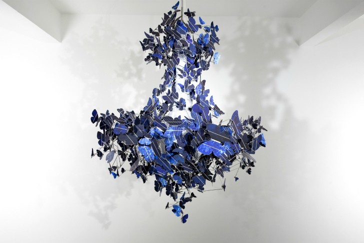Stunning virtue of blue chandelier made from 500 fluttering solar design mozeypictures Images