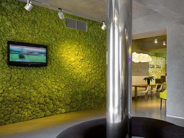 Prague s luscious moods hotel melds sustainable materials for Moss building design