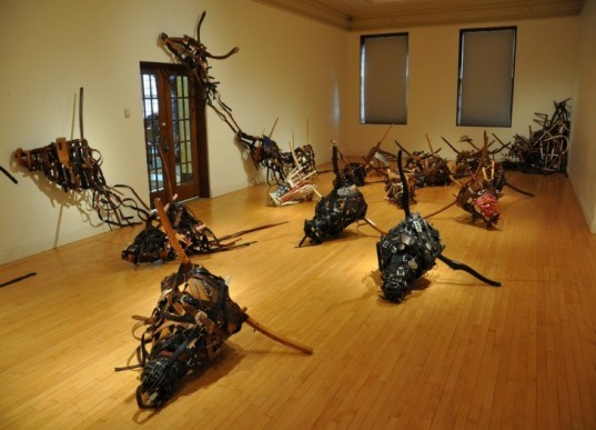 green art, environmental awareness, landfill, green design, recycled design, upcycle, chairs, bull, zongtao zhou, Memorial Union Porter Butts Gallery, cowboy, material culture