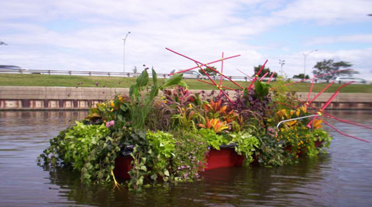 "Floating Boat Garden"" title=""Floating Boat Garden, green design, recycled materials, recycled boat, floating garden, sustainable design, eco design, lincoln park"