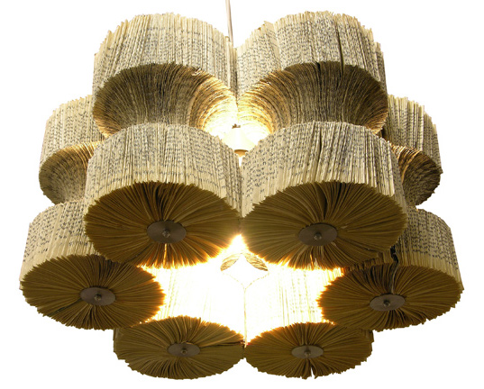 recycled books, book chandeliers, book lights, unwanted books, transformed books, reinvented books, recycled light fixtures, book light fitting, lula dot
