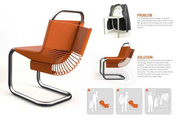 Dual Purpose Coat Check Chair Is A Clever Seating Solution   Inhabitat    Green Design, Innovation, Architecture, Green Building