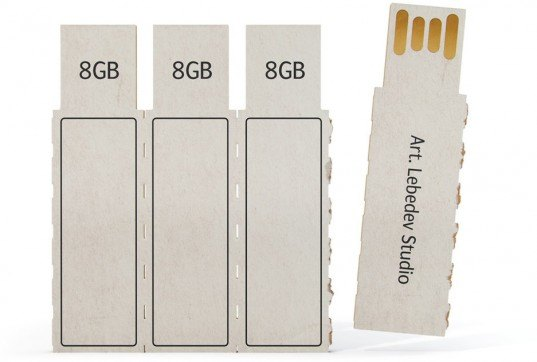 Recyclable cardboard, USB flash drives, disposable flash drives, memory sticks, interface design, sustainable memory sticks, disposable momory sticks, recyclable computer memory, art lebedev, disposable flashkus