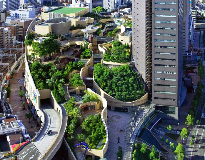 Japanu0027s Namba Parks Has An 8 Level Roof Garden With Waterfalls | Inhabitat    Green Design, Innovation, Architecture, Green Building
