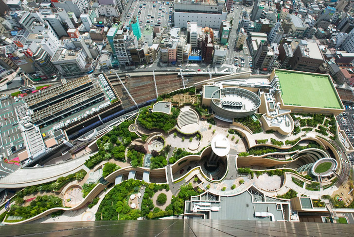 Japan 39 s namba parks has an 8 level roof garden with for Urban waterfall design