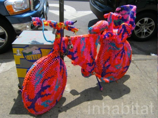 "NEWS HUB | PHOTOS: Olek's Crazy Crocheted ""Room"" Features Crocheted Bikes, Humans and More! 