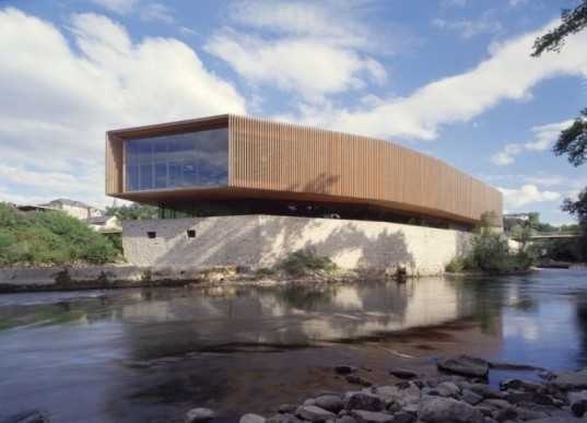 daylighting, reclaimed materials, natural light, stone, Pyrenees, oloron sainte marie, pascale guedot, beret factory, multimedia center, river confluence, roof lights, green terraces, green design, eco-design, urban redevelopment, waste land, sustainable design