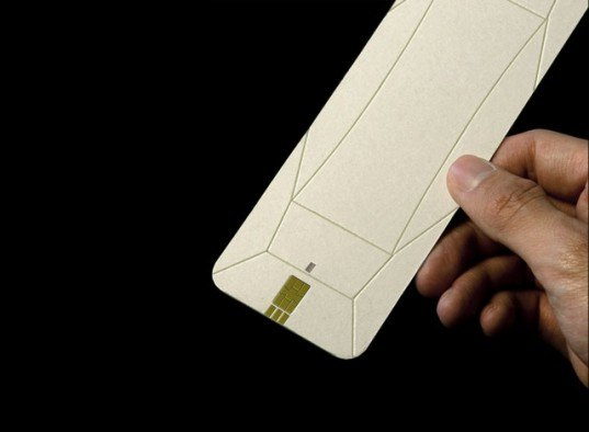 origami phone folds down into a flat piece of cardboard