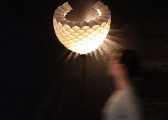 Rays Recycled Paper Cup Lamp Is A Glowing Honeycomb Of
