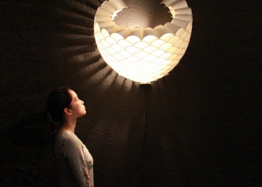 Chengyuan Wei, Guanyun Wang, Ye Tao, Jianxing Cai, Chao Chen,  Xuanxing Yang, upcycled lamp, paper cups, DIY, green design, eco design, sustainable design