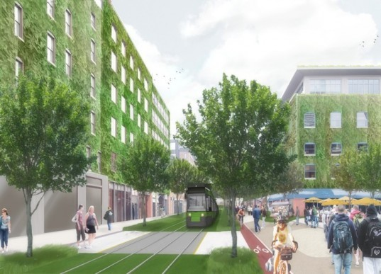 green design, sustainable design, map-lab, boston, 2035, international living future institute, living city design competition, innovation district, brownfield, greyfield, underground cistern, canals, living walls, photovoltaics, biogas, pedestrian friendly