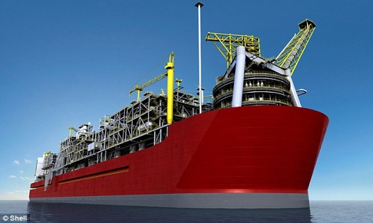 shell, floating natural gas refinery, world's largest floating object, sustainable design, eco-design, green design, australia, titanic, cyclones, steel, Prelude FLNG