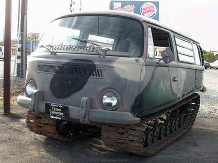 VW Camper Converted Into Tracked Off Road Tanker Could Take Down
