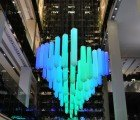 Shape Shifting LED Light Chandelier on Permanent Display in Moscow Shopping Center