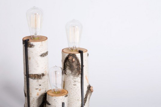 green design, eco design, sustainable design, Autumn Workshop, Birch Log Touch Lamp, repurposed wood, edison light bulb, touch lamp, sustainable lighting