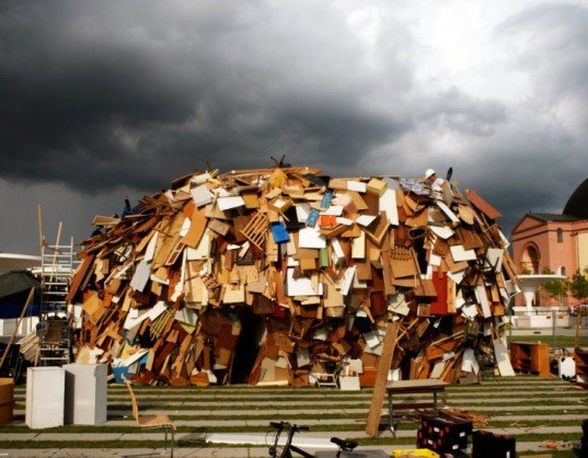 repurposed building material, eco art, green art, discarded materials shelter,art made from waste, discarded materials, eco pavilion, Georg-Büchner-Platz, Raumlaborbelin, materials reuse, German green art, Junk pavilion, discarded art materials,