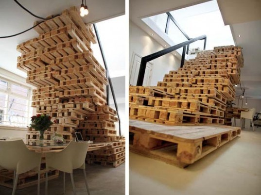 Recycled Materials,Green Resources,Green Materials,green Interiors,green furniture,dutch design,amsterdam office,wooden pallets,pallet structure,natural light,flexible interiors
