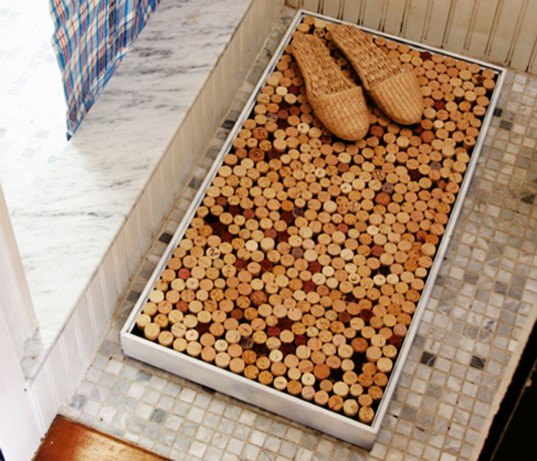 diy, diy projects, diy home products, diy bathroom products, cork bath mat, recycled wine corks, wine cork bath mat, green bathroom, recycled materials