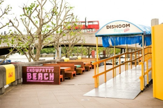 chowpatty beach bar, dishoom, london, southbank, pop up bar, recycled materials, upcycled materials