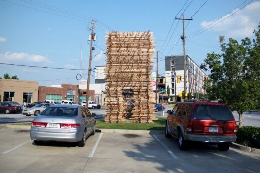 Edge Condition Pavilion, Synecdoche, scrap wood, temporary pavilion, recycled wood,