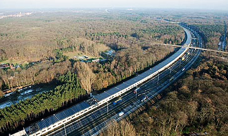 two mile long solar tunnel unveiled for paris amsterdam high speed rail line inhabitat green. Black Bedroom Furniture Sets. Home Design Ideas