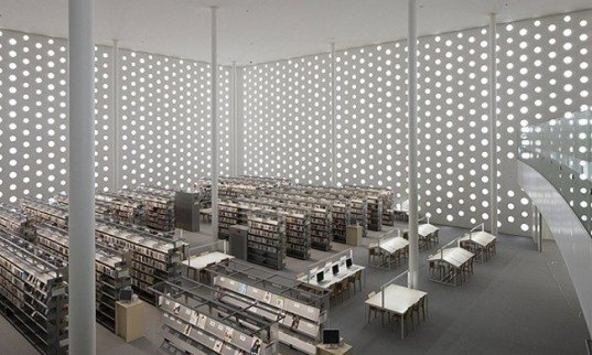 Natural cooling, natural ventilation, Library community center,Coelacanth K&H Architects, Round window facade, library daylighting, automated book shelf, library program, Japanese Library, eco library, green library, contemporary library,