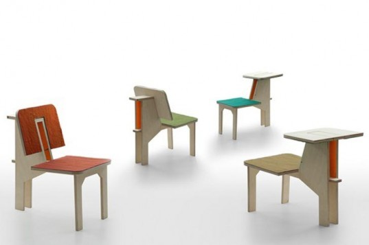 Transforming Furniture,Sustainable Materials,green furniture,Matali Crasset,felt material,plywood,multifunctional furniture,