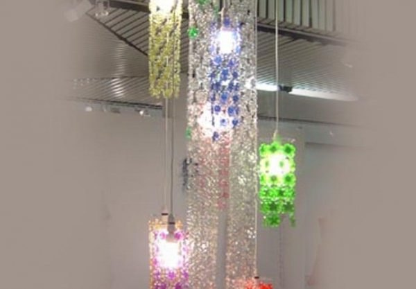 Dazzling cascade chandelier is made from chains of recycled plastic dazzling cascade chandelier is made from chains of recycled plastic bottle flowers inhabitat green design innovation architecture green building aloadofball Images