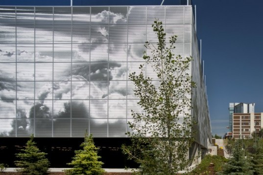 SAIT Parkade, Bing Thom Architects, green roof, parking garage, metal shade screen, roderick quin