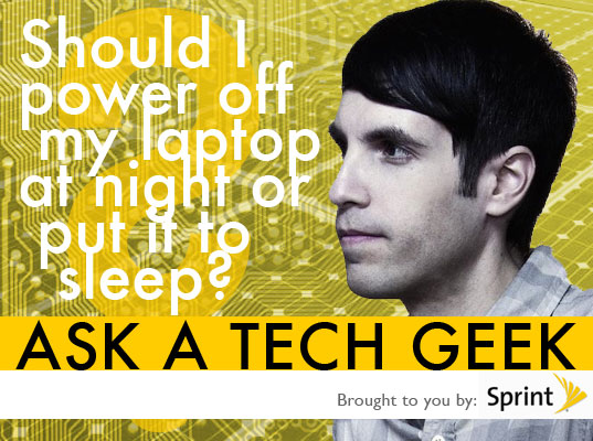 powering your laptop, how to care for your laptop, sleep mode vs shutting of laptop, laptop power, conserving laptop battery, ask a tech geek, ask a gadget geek, gdgt founder, gdgt.com, green gadgets, greener gadgets, green gdts, eco geek ,ask a tech geek, tech geek, peter rojas, inhabitat, green tech, green technology, sustainable technology, sustainable design, eco design, green design, eco tech, clean technology, engadget founder, gizmodo founder, inhabitat ask a tech geek, green gadgets, sustainable gadgets