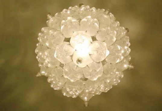 Bubble chandelier is an effervescent light fixture made of for Things to make out of plastic bottles