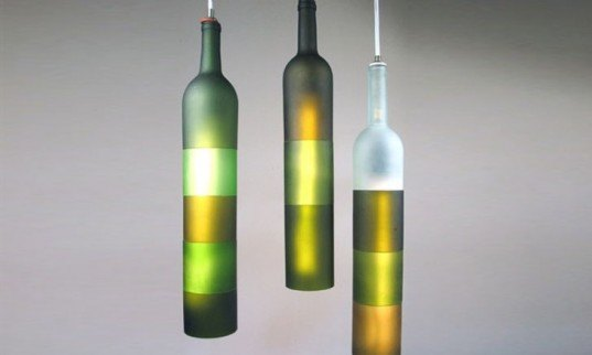 Upcycled wine bottles, beautiful wine bottle lights, Jerry Kott, Khysalis and Kortex lights, light fixtures recycled wine bottles, wine bottle lights