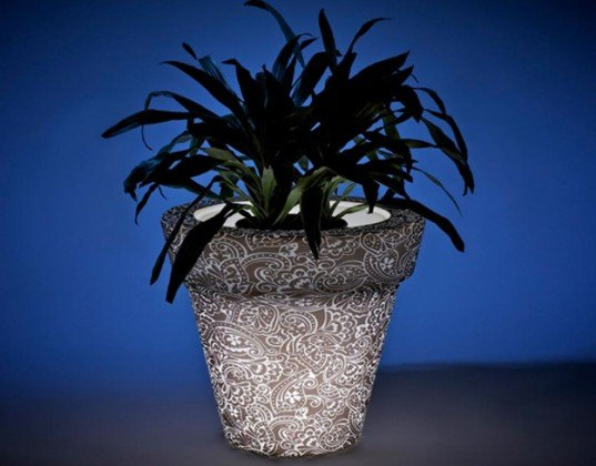 green design, eco design, sustainable design, recycled plastic, Rotoluxe, 100% recycled plastic, illuminated planters, illuminated table, LED, CFL,