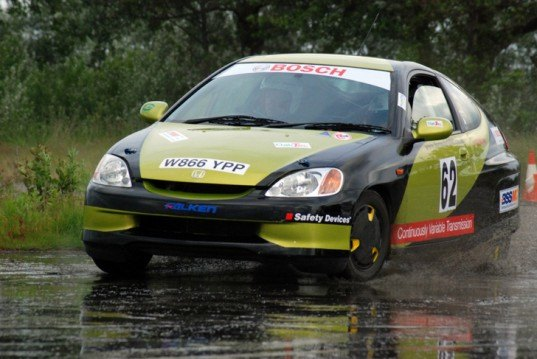 OakTec, Honda Insight rally car, Formula 1000 Rally, world's fastest rally car, hybrid rally car, green automotive design, green racecar, hybrid racecar, hybrid vehicle, green transportation, alternative transportation