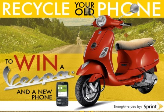 sustainable design, green design, sprint, e-waste, cell phone recycling, green technology, sustainable technology, mobile phone recycling, waste reduction, vespa, win a vespa, sprint buyback program, sprint project connect, vespa LX50, samsung replenish, green cell phone, sustainable smartphone