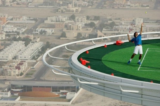 Burj Al Arab, Tennis Court, green roof, world's highest tennis court, andre agassi, green design, roger federer