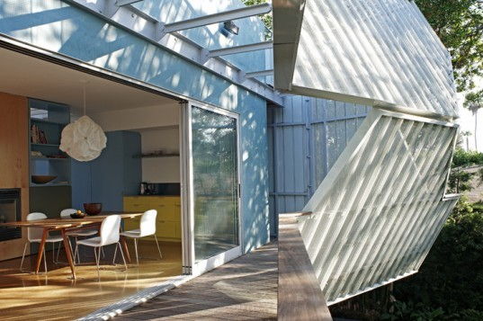 green design, eco design, sustainable design, Daly Genik, Palms House, Venice, California, Perforated metal screens, sunshades, inner courtyard, solar panels, radiant heat floor