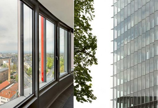 eco building, green design, KWh per square foot, automated windows, underfloor HVAC, Sauerbruch Hutton, natural ventilation, KfW headquarters, naturally cooled building, eco tower, green office building, greman green office, worlds most efficient building