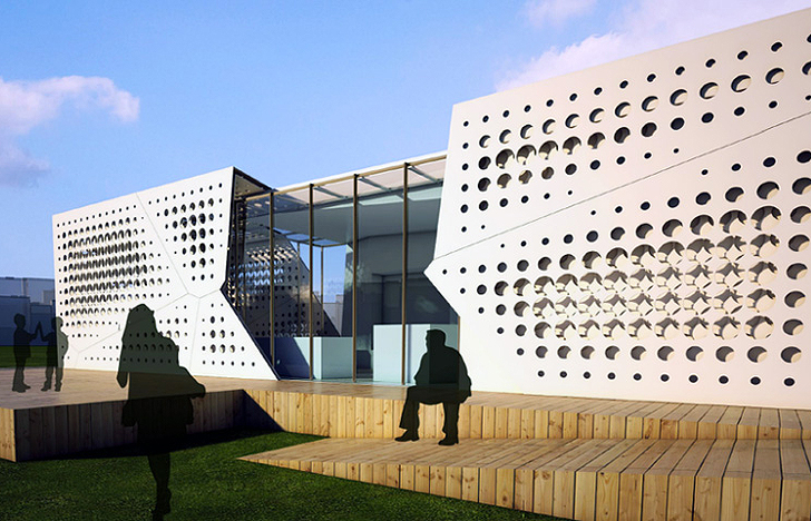 Egypt 39 s solar slides house has a transforming perforated for Architecture design company in egypt