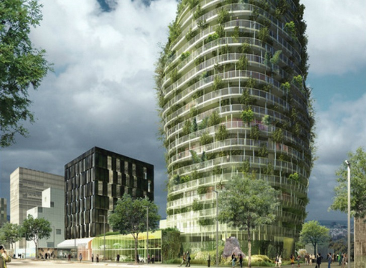 residential tower tour vegetale de nantes to be layered in trees inhabitat green design. Black Bedroom Furniture Sets. Home Design Ideas