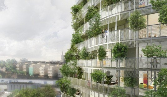 Urban green facade, chasmophyte, Tree architecture, miroclimate building, Botanical Garden of Nantes,eco building, green building, green facade, environmetal housing tower, green tower, french green building,