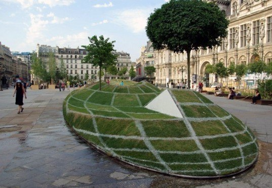 land art, optical illusion, François Abélanet, 'qui croire,' Paris City Hall, 3D sphere, green design, eco-design, sustainable design, environmental art,
